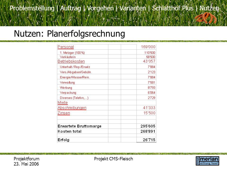 Problemstellung | Auftrag | Vorgehen | Varianten | Schlatthof Plus | Nutzen Projektforum 23. Mai 2006 Projekt CMS-Fleisch Nutzen: Planerfolgsrechnung