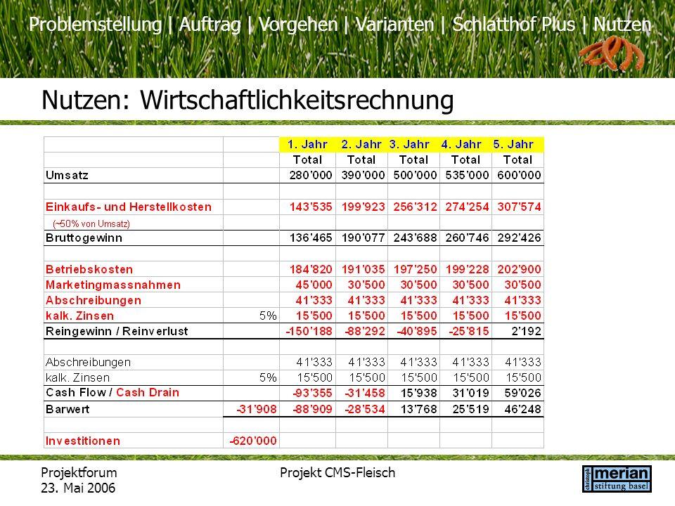 Problemstellung | Auftrag | Vorgehen | Varianten | Schlatthof Plus | Nutzen Projektforum 23. Mai 2006 Projekt CMS-Fleisch Nutzen: Wirtschaftlichkeitsr