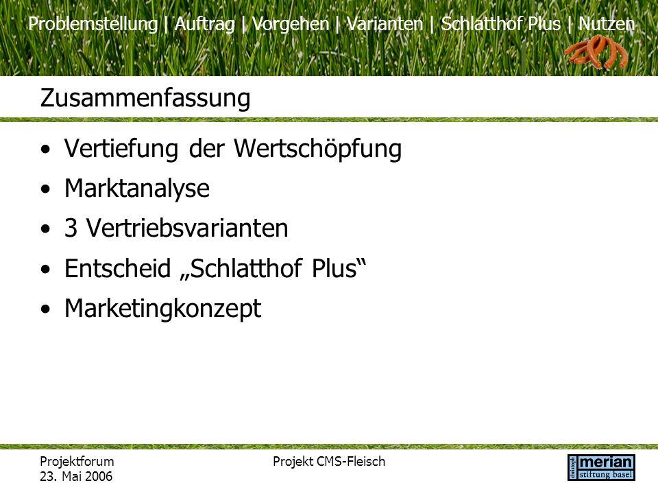 Problemstellung | Auftrag | Vorgehen | Varianten | Schlatthof Plus | Nutzen Projektforum 23. Mai 2006 Projekt CMS-Fleisch Zusammenfassung Vertiefung d