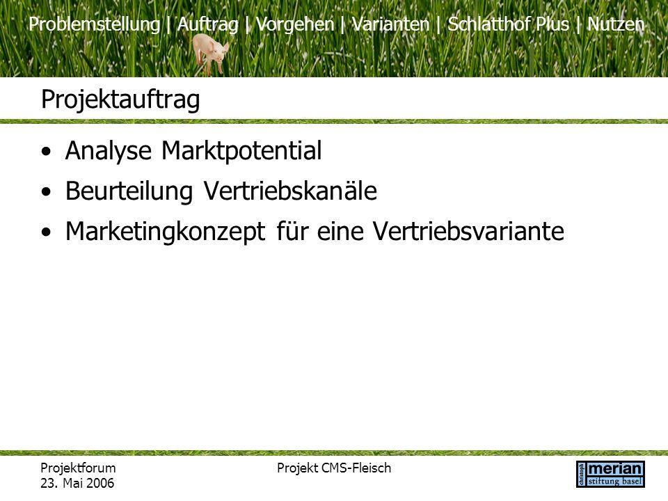 Problemstellung | Auftrag | Vorgehen | Varianten | Schlatthof Plus | Nutzen Projektforum 23. Mai 2006 Projekt CMS-Fleisch Projektauftrag Analyse Markt