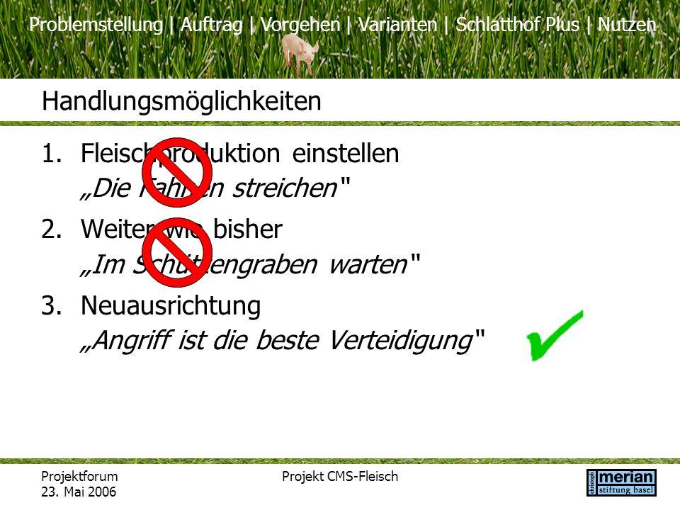 Problemstellung | Auftrag | Vorgehen | Varianten | Schlatthof Plus | Nutzen Projektforum 23. Mai 2006 Projekt CMS-Fleisch Handlungsmöglichkeiten 1.Fle