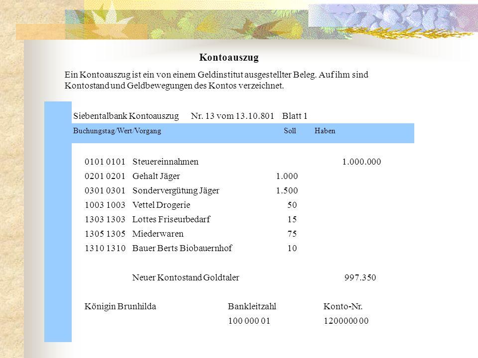 Siebentalbank Kontoauszug Nr. 13 vom 13.10.801 Blatt 1 Buchungstag/Wert/VorgangSoll Haben 0101 0101Steuereinnahmen 1.000.000 0201 0201Gehalt Jäger1.00