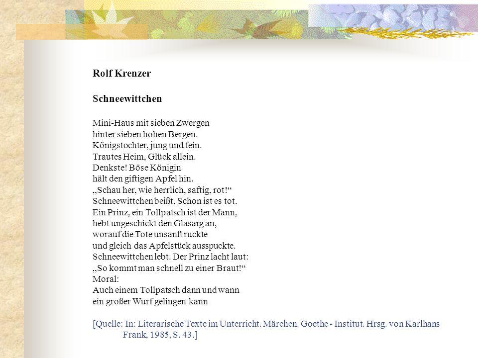 Rolf Krenzer Schneewittchen Mini-Haus mit sieben Zwergen hinter sieben hohen Bergen. Königstochter, jung und fein. Trautes Heim, Glück allein. Denkste