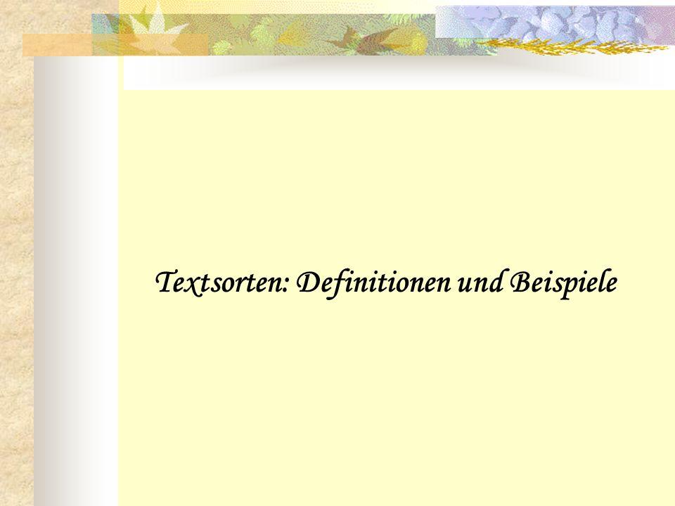 Textsorten: Definitionen und Beispiele