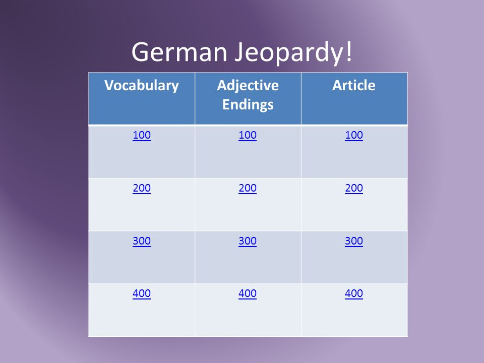 German Jeopardy! VocabularyAdjective Endings Article 100 200 300 400