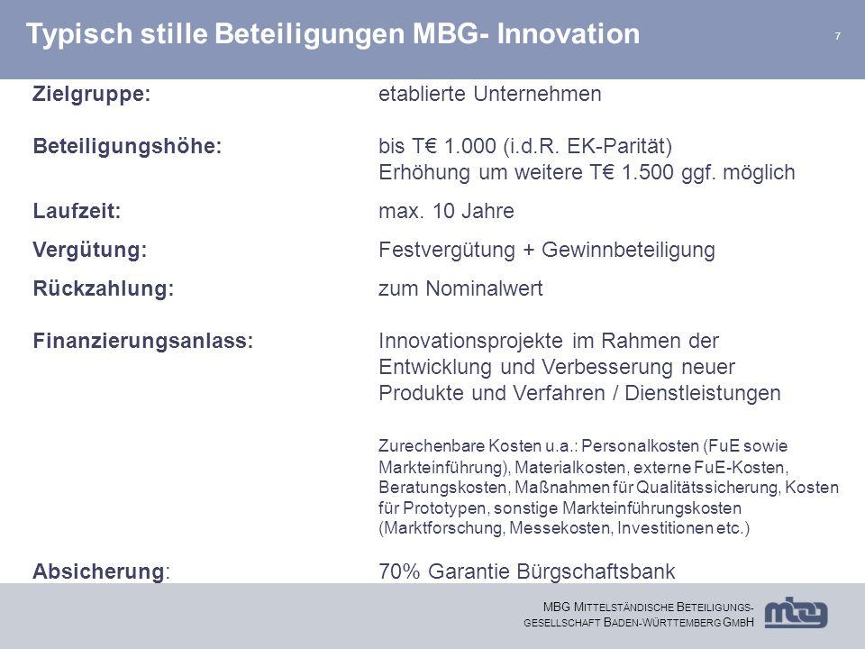 7 MBG M ITTELSTÄNDISCHE B ETEILIGUNGS- GESELLSCHAFT B ADEN- W ÜRTTEMBERG G MB H Typisch stille Beteiligungen MBG- Innovation Zielgruppe:etablierte Unt