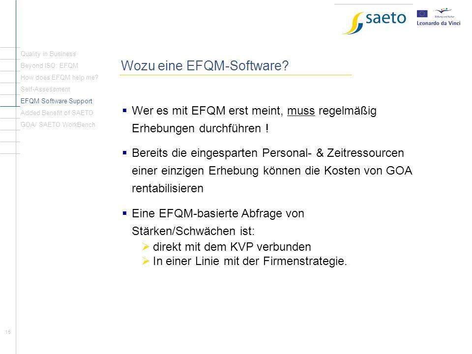 15 Wozu eine EFQM-Software? Wer es mit EFQM erst meint, muss regelmäßig Erhebungen durchführen ! Bereits die eingesparten Personal- & Zeitressourcen e