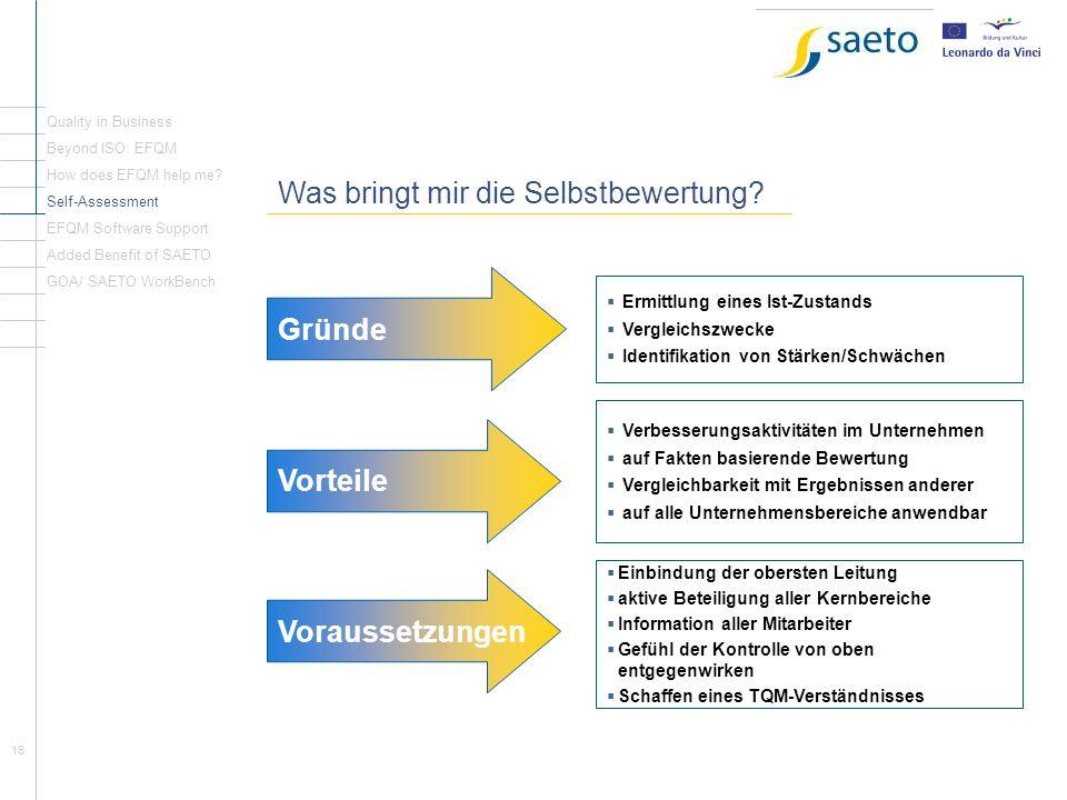 16 Einleitung Seite 1 Was bringt mir die Selbstbewertung? Quality in Business Beyond ISO: EFQM How does EFQM help me? Self-Assessment EFQM Software Su