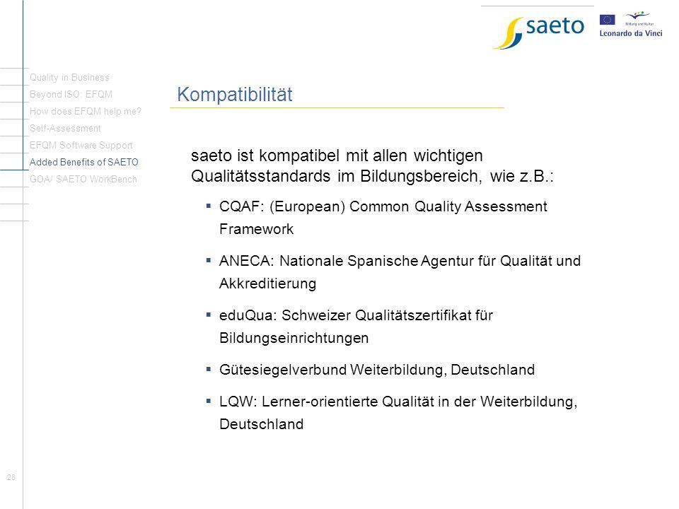 28 Rückblick Seite1 Kompatibilität saeto ist kompatibel mit allen wichtigen Qualitätsstandards im Bildungsbereich, wie z.B.: CQAF: (European) Common Q