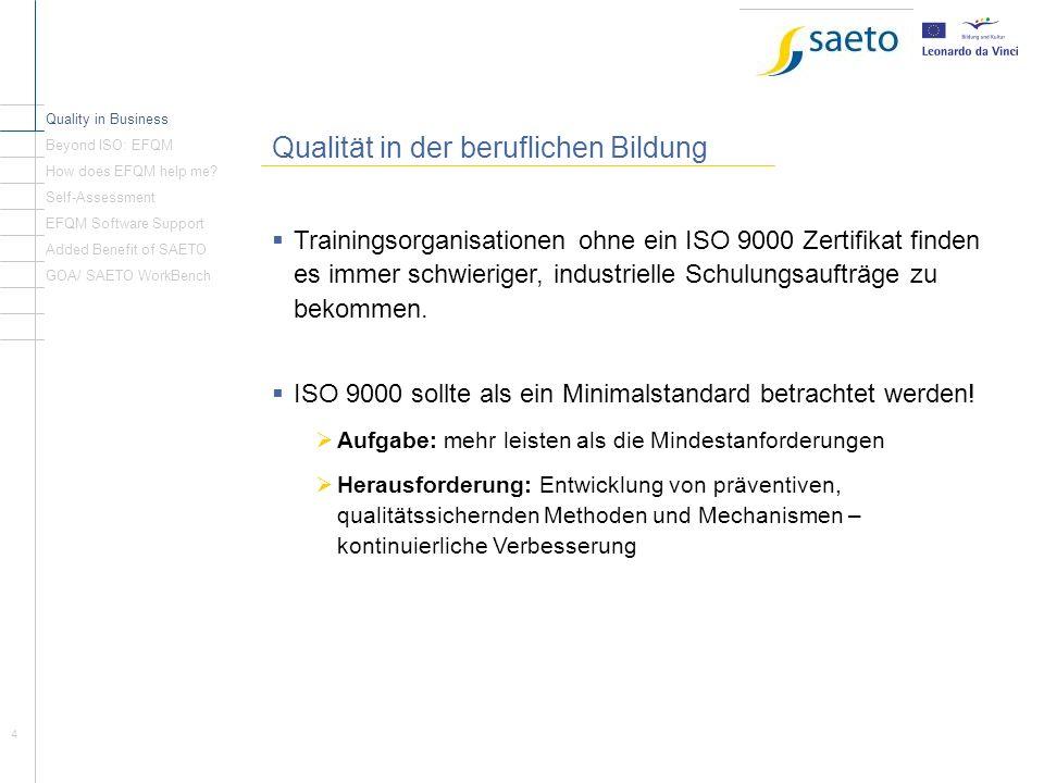 5 Nach der ISO: EFQM Quality in Business Beyond ISO: EFQM How does EFQM help me.