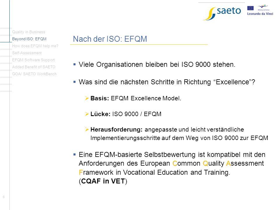 6 Nach der ISO: EFQM Viele Organisationen bleiben bei ISO 9000 stehen. Was sind die nächsten Schritte in Richtung Excellence? Basis: EFQM Excellence M