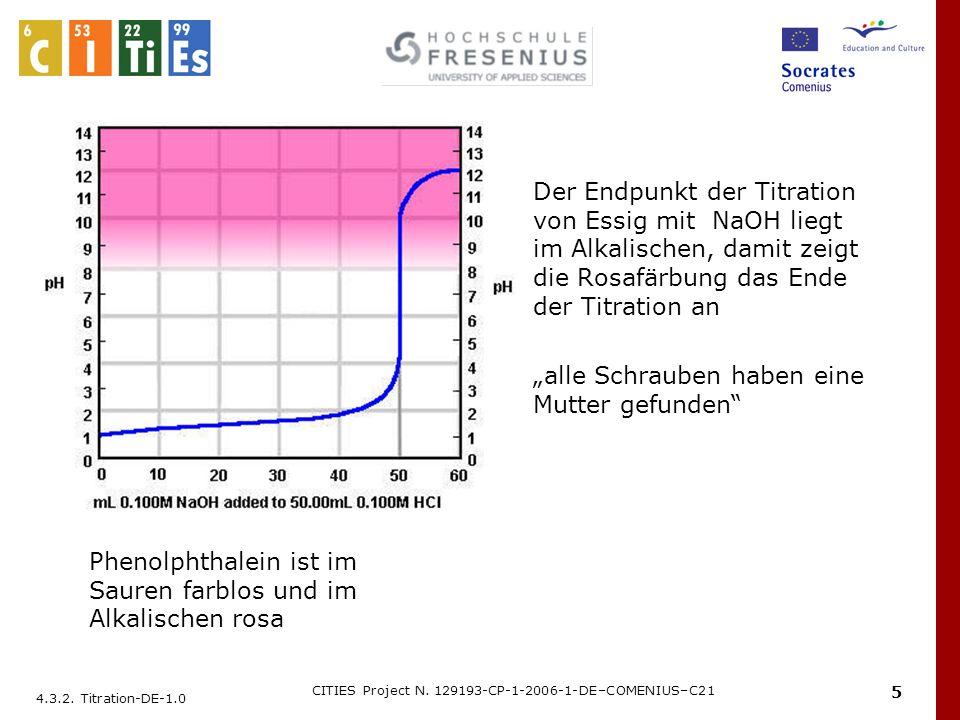 4.3.2. Titration-DE-1.0 CITIES Project N. 129193-CP-1-2006-1-DE–COMENIUS–C21 5 Der Endpunkt der Titration von Essig mit NaOH liegt im Alkalischen, dam