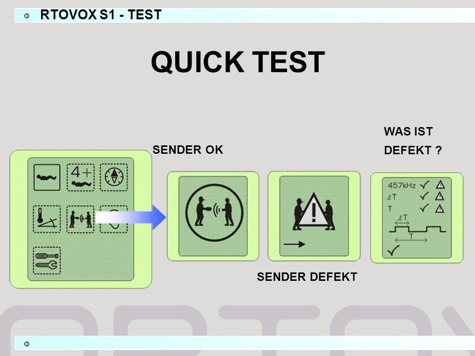 QUICK TEST SENDER OK SENDER DEFEKT WAS IST DEFEKT RTOVOX S1 - TEST