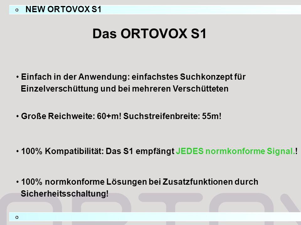 Das ORTOVOX S1 Einfach in der Anwendung: einfachstes Suchkonzept für Einzelverschüttung und bei mehreren Verschütteten 100% Kompatibilität: Das S1 emp