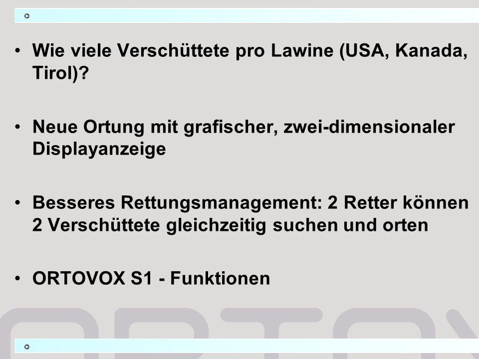 Wie viele Verschüttete pro Lawine (USA, Kanada, Tirol)? Neue Ortung mit grafischer, zwei-dimensionaler Displayanzeige Besseres Rettungsmanagement: 2 R