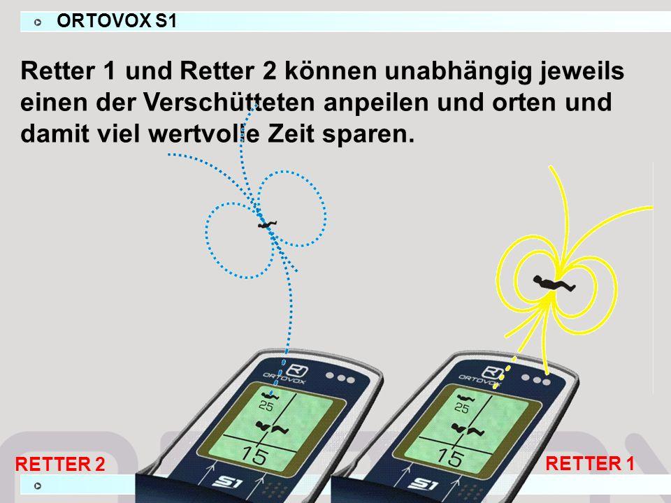 ORTOVOX S1 Retter 1 und Retter 2 können unabhängig jeweils einen der Verschütteten anpeilen und orten und damit viel wertvolle Zeit sparen. RETTER 1 R