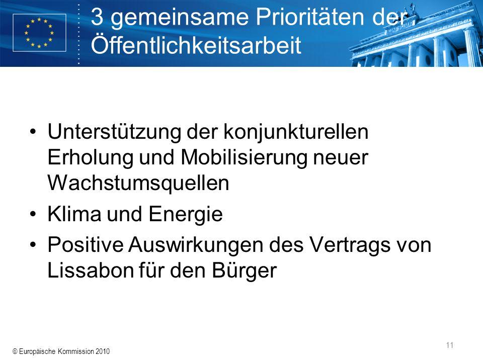 © Europäische Kommission 2010 11 3 gemeinsame Prioritäten der Öffentlichkeitsarbeit Unterstützung der konjunkturellen Erholung und Mobilisierung neuer