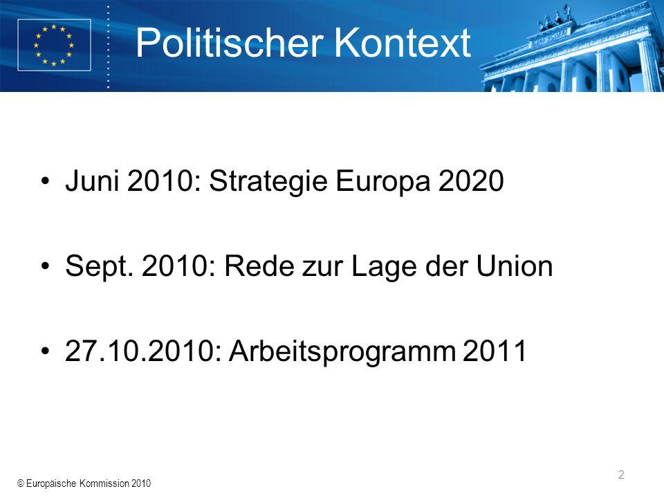 © Europäische Kommission 2010 2 Politischer Kontext Juni 2010: Strategie Europa 2020 Sept. 2010: Rede zur Lage der Union 27.10.2010: Arbeitsprogramm 2