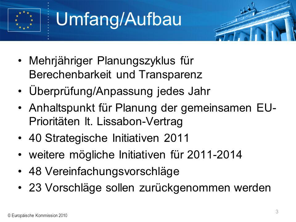 © Europäische Kommission 2010 3 Umfang/Aufbau Mehrjähriger Planungszyklus für Berechenbarkeit und Transparenz Überprüfung/Anpassung jedes Jahr Anhalts
