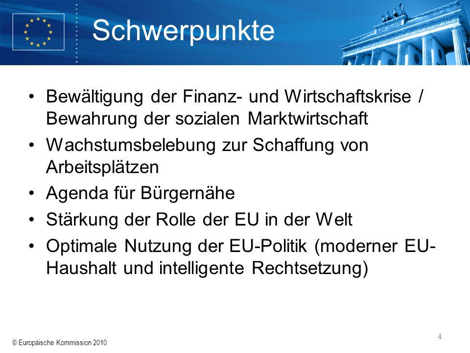 © Europäische Kommission 2010 4 Schwerpunkte Bewältigung der Finanz- und Wirtschaftskrise / Bewahrung der sozialen Marktwirtschaft Wachstumsbelebung z