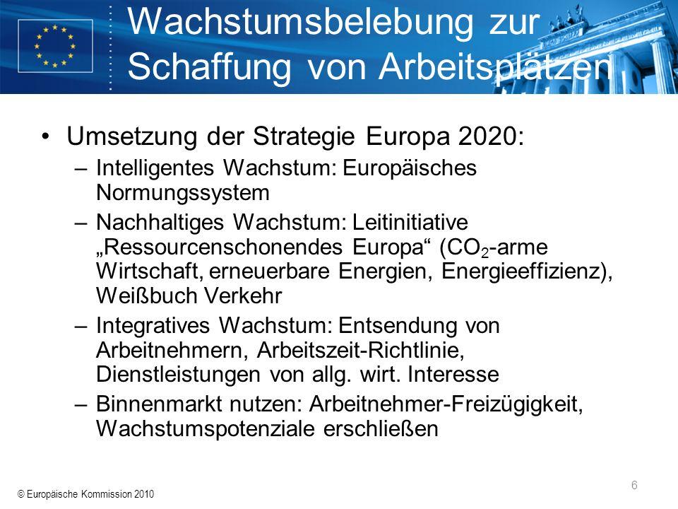 © Europäische Kommission 2010 6 Wachstumsbelebung zur Schaffung von Arbeitsplätzen Umsetzung der Strategie Europa 2020: –Intelligentes Wachstum: Europ