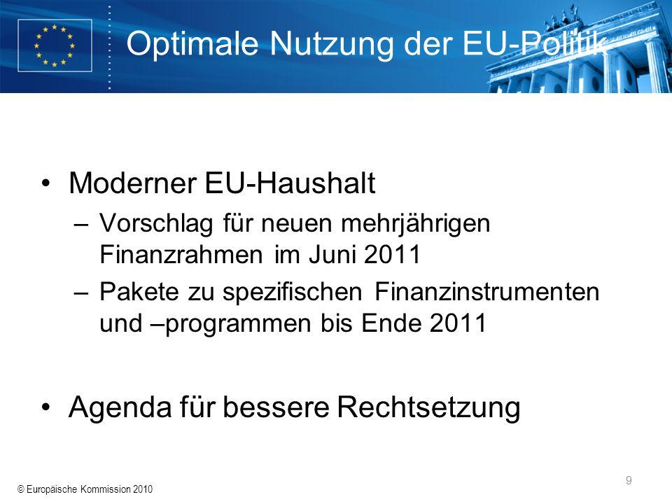 © Europäische Kommission 2010 9 Optimale Nutzung der EU-Politik Moderner EU-Haushalt –Vorschlag für neuen mehrjährigen Finanzrahmen im Juni 2011 –Pake
