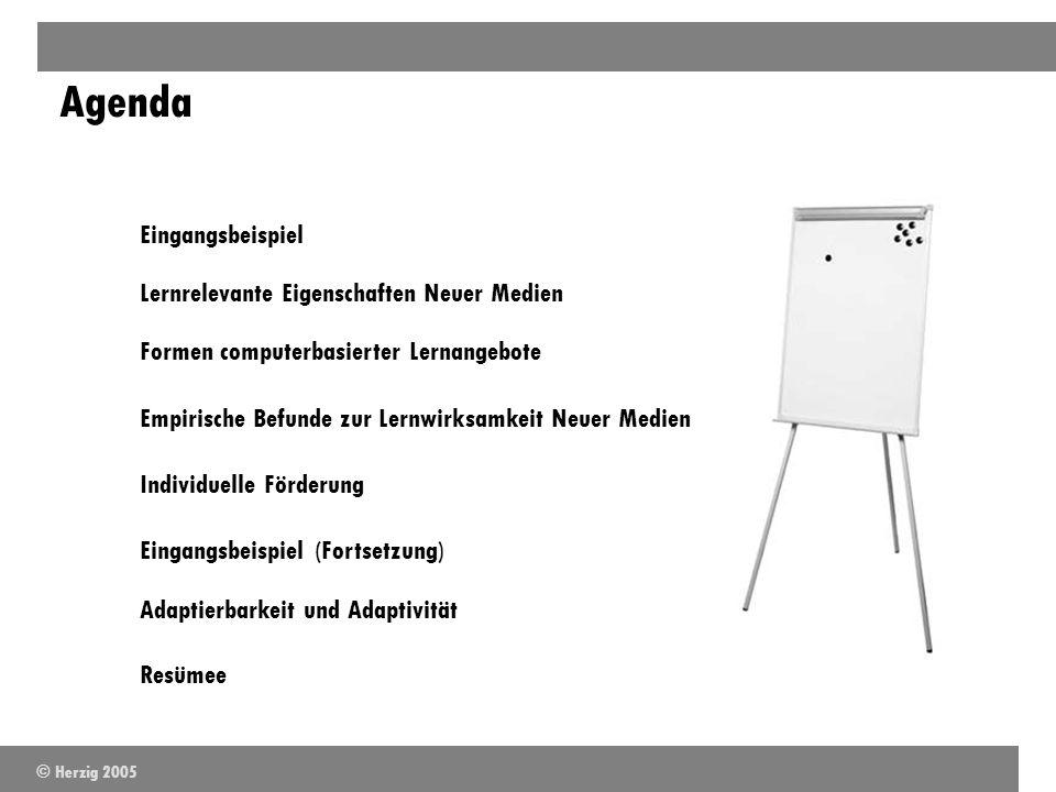 Agenda Eingangsbeispiel Lernrelevante Eigenschaften Neuer Medien Formen computerbasierter Lernangebote Empirische Befunde zur Lernwirksamkeit Neuer Me