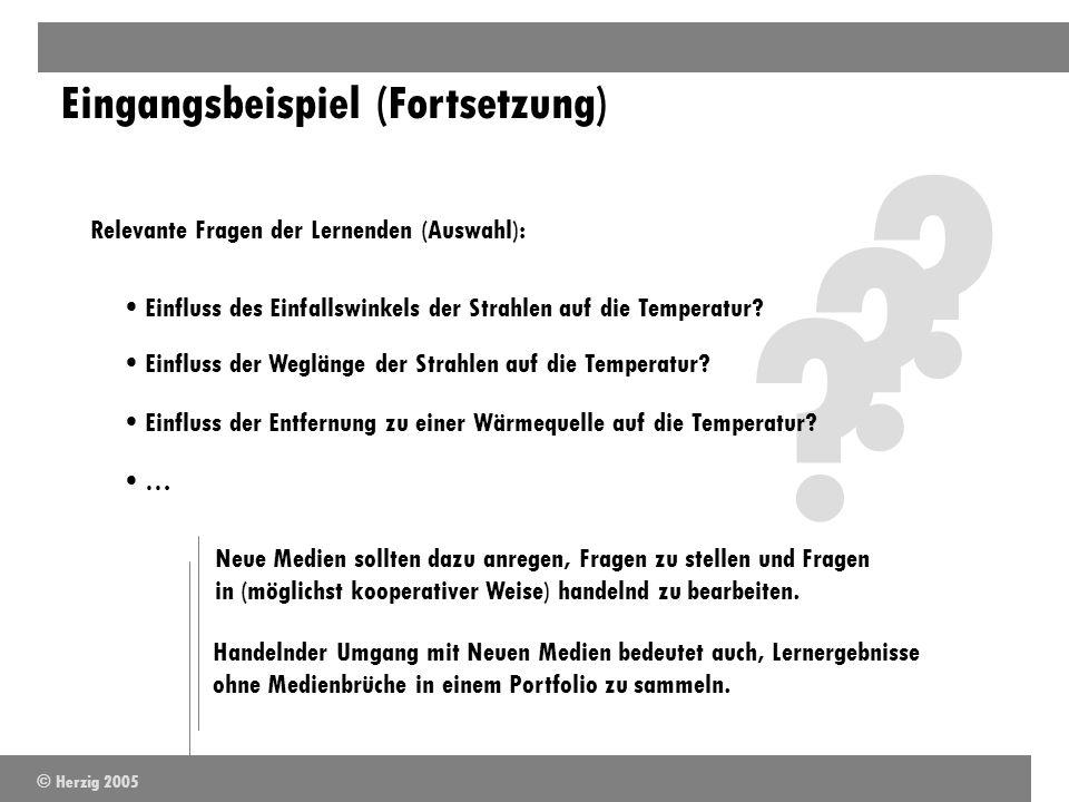 ? ? ? Eingangsbeispiel (Fortsetzung) Relevante Fragen der Lernenden (Auswahl): Einfluss des Einfallswinkels der Strahlen auf die Temperatur? Einfluss