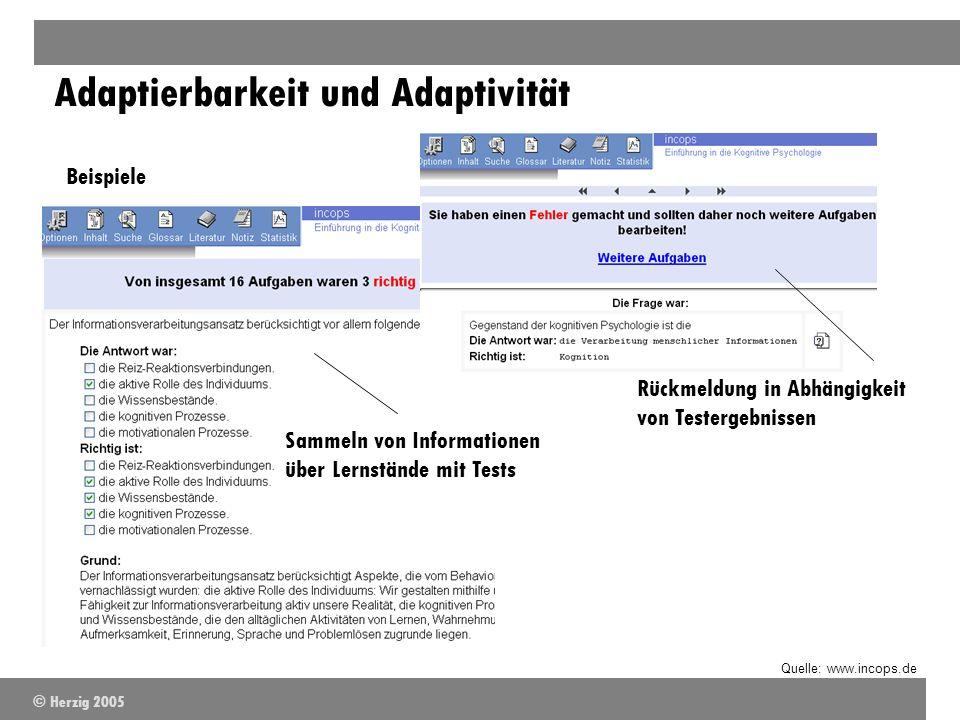 Adaptierbarkeit und Adaptivität Beispiele Quelle: www.incops.de Sammeln von Informationen über Lernstände mit Tests Rückmeldung in Abhängigkeit von Te