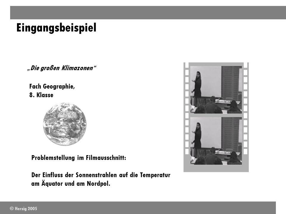 Eingangsbeispiel Fach Geographie, 8. Klasse Problemstellung im Filmausschnitt: Der Einfluss der Sonnenstrahlen auf die Temperatur am Äquator und am No