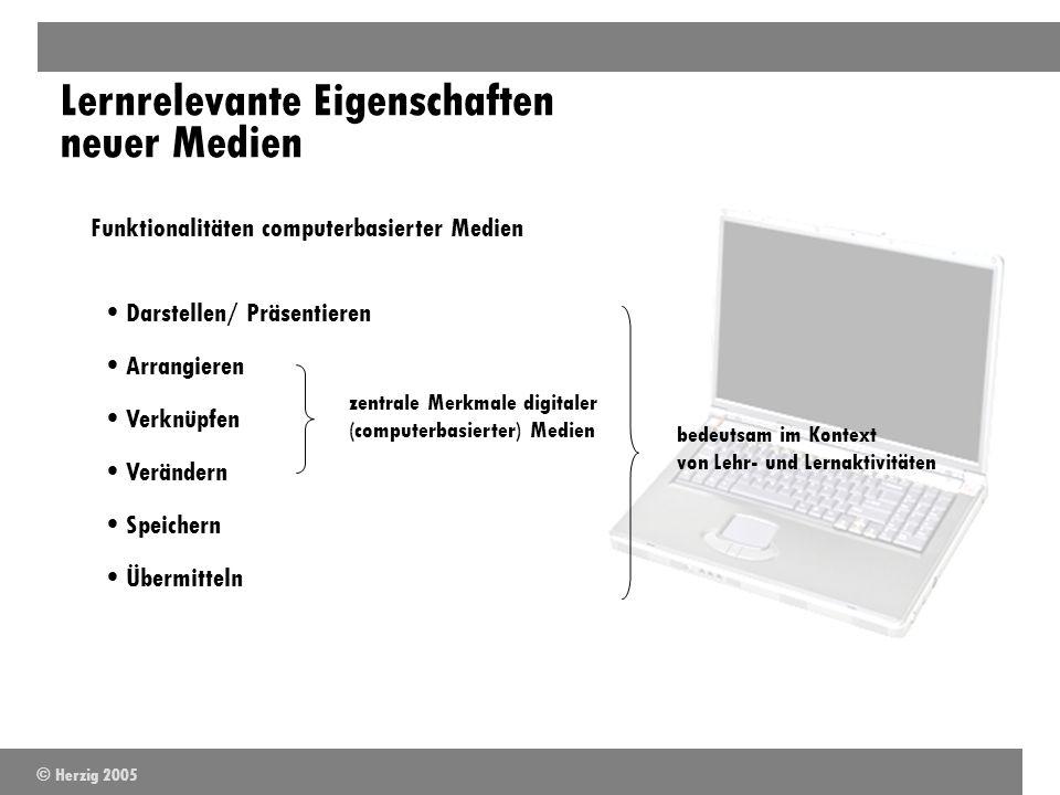 Lernrelevante Eigenschaften neuer Medien Funktionalitäten computerbasierter Medien Darstellen/ Präsentieren Übermitteln Arrangieren Verknüpfen Speiche