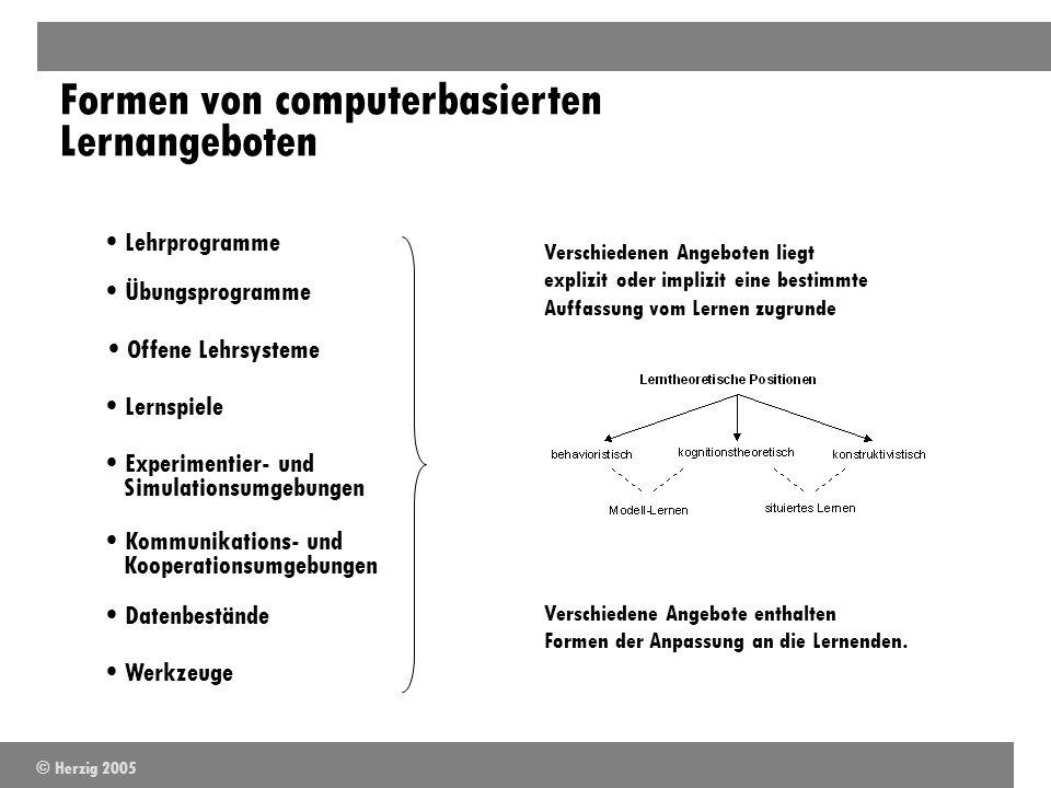 Formen von computerbasierten Lernangeboten Lehrprogramme Übungsprogramme Offene Lehrsysteme Lernspiele Experimentier- und Simulationsumgebungen Kommun