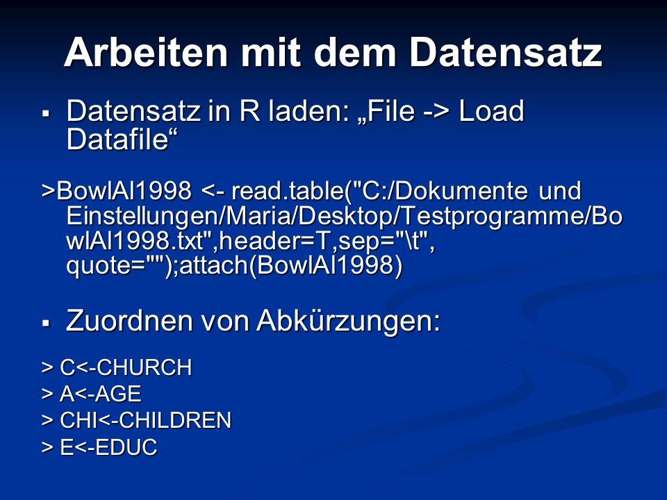 Arbeiten mit dem Datensatz Datensatz in R laden: File -> Load Datafile Datensatz in R laden: File -> Load Datafile >BowlAl1998 BowlAl1998 <- read.tabl