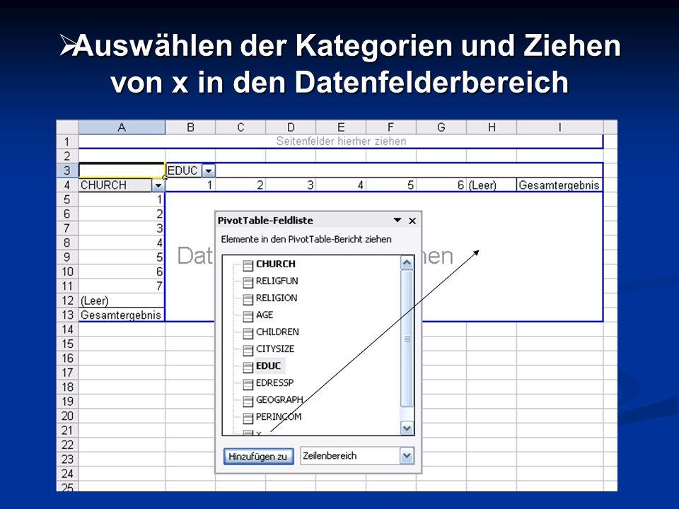 Auswählen der Kategorien und Ziehen von x in den Datenfelderbereich Auswählen der Kategorien und Ziehen von x in den Datenfelderbereich