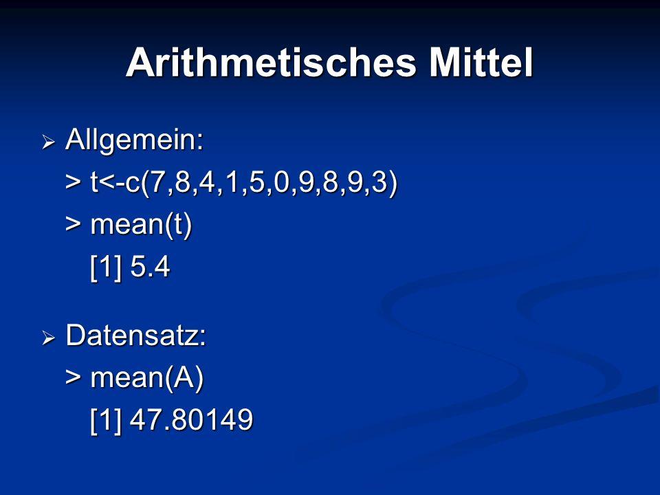 Median 50% der Werte liegen unterhalb des Medians und 50% der Werte oberhalb 50% der Werte liegen unterhalb des Medians und 50% der Werte oberhalb Allgemein: Allgemein: > w w<-c(4,6,2,8,0,9,7,3,4,4) > median(w) > median(w) [1] 4 [1] 4 Datensatz: Datensatz: > median(A) > median(A) [1] 45 [1] 45