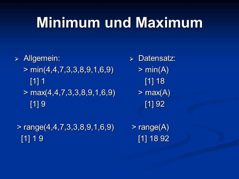 Minimum und Maximum Allgemein: Allgemein: > min(4,4,7,3,3,8,9,1,6,9) > min(4,4,7,3,3,8,9,1,6,9) [1] 1 [1] 1 > max(4,4,7,3,3,8,9,1,6,9) > max(4,4,7,3,3