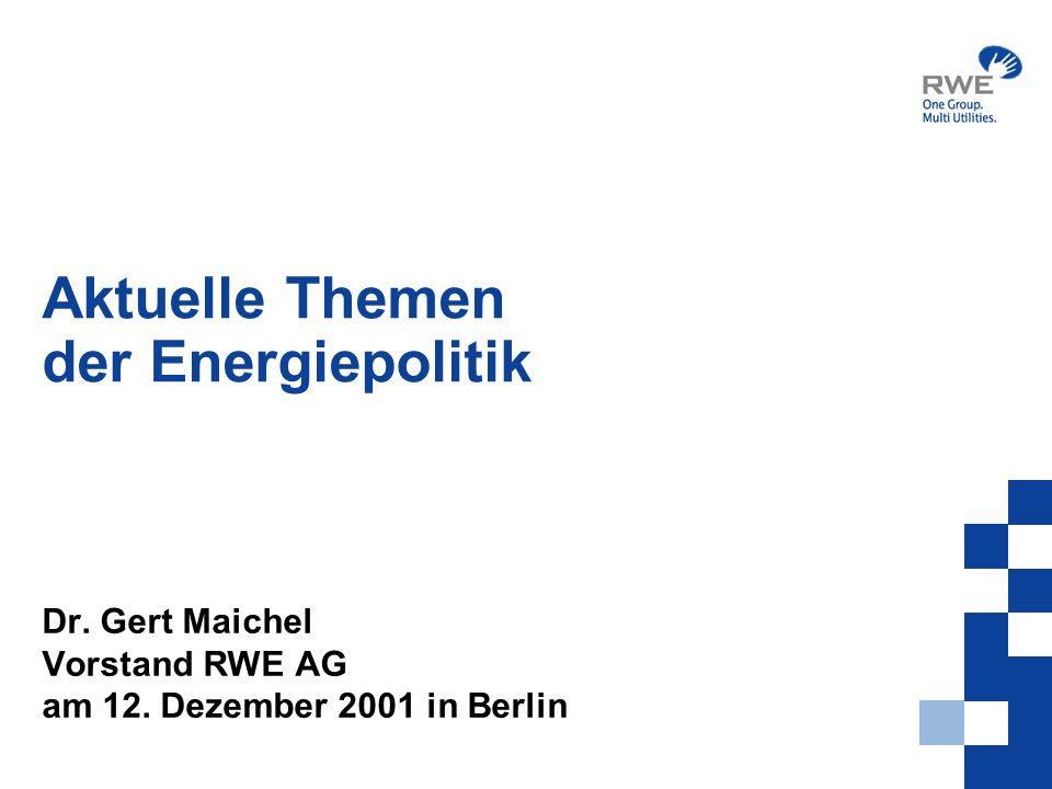 2 Inhalt Vorstellung RWE Konzern Entwicklung des Energiebedarfs in der Welt und Europa Stand der Klimaforschung Ergebnisse von Marrakesch RL-Entwurf der EU-Kommission Energiebericht des Bundeswirtschaftsministeriums