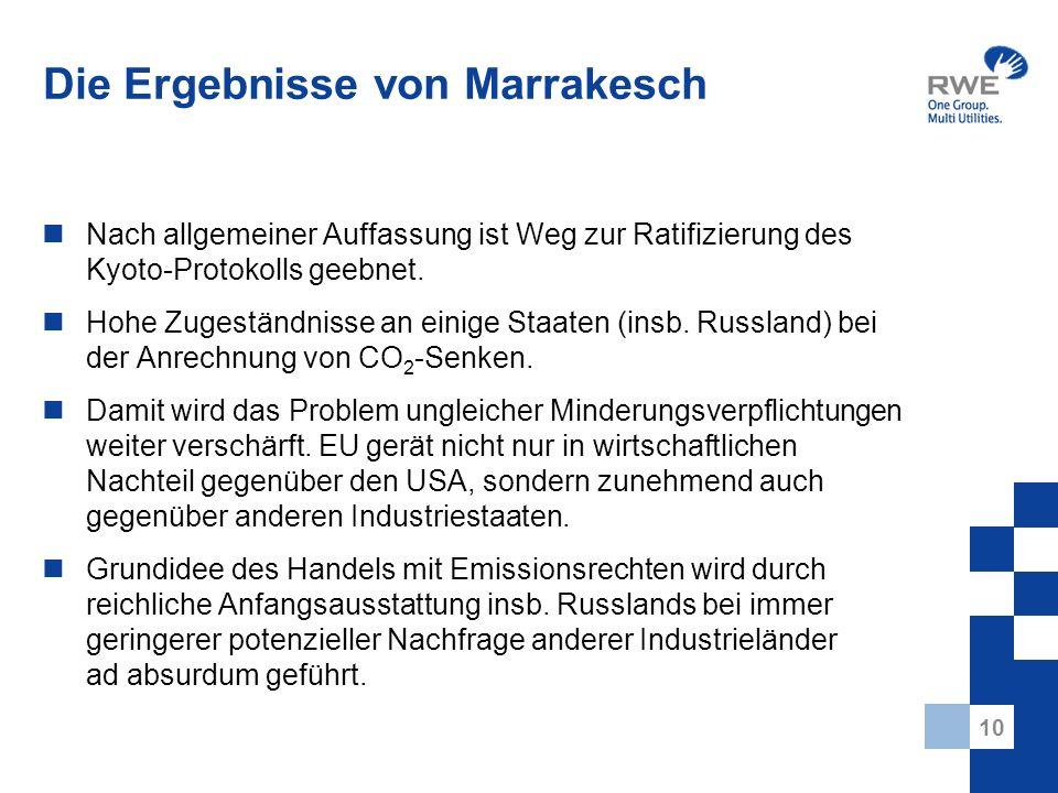 10 Die Ergebnisse von Marrakesch Nach allgemeiner Auffassung ist Weg zur Ratifizierung des Kyoto-Protokolls geebnet. Hohe Zugeständnisse an einige Sta
