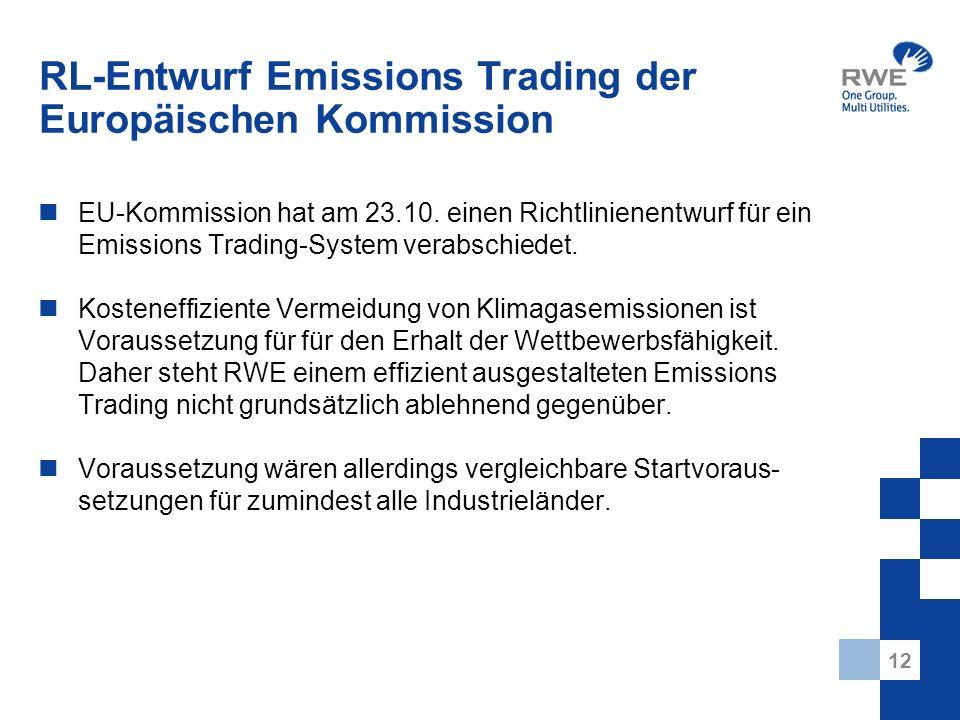 12 RL-Entwurf Emissions Trading der Europäischen Kommission EU-Kommission hat am 23.10. einen Richtlinienentwurf für ein Emissions Trading-System vera
