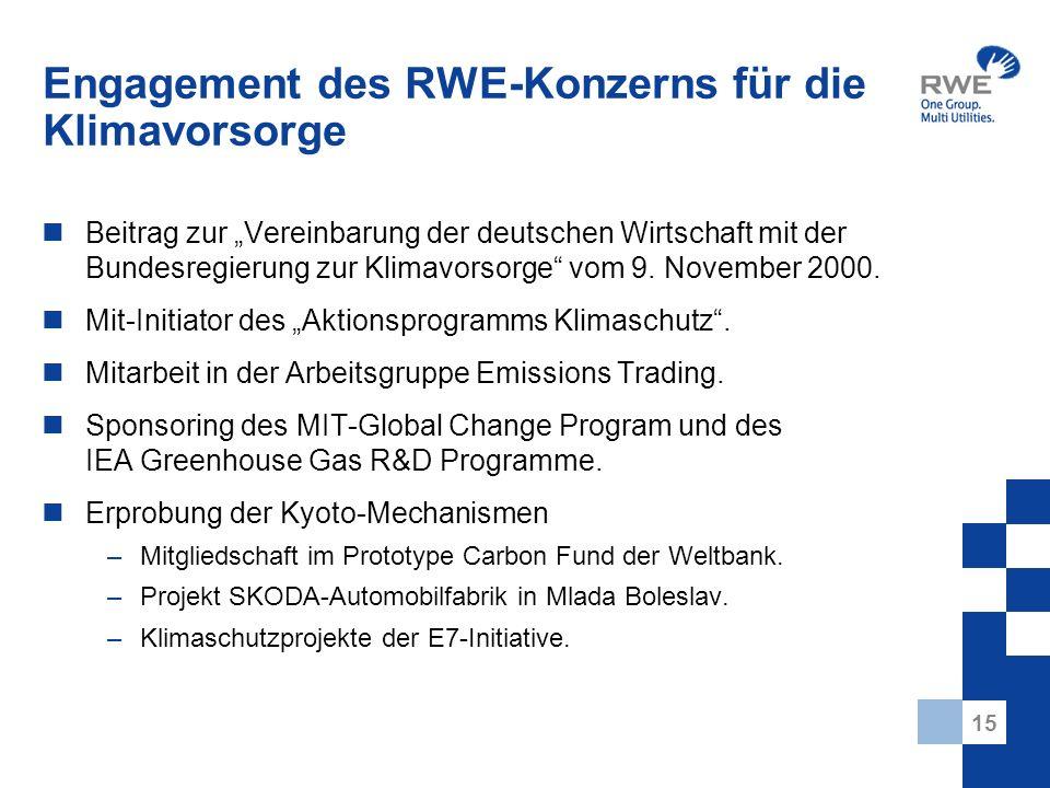 15 Engagement des RWE-Konzerns für die Klimavorsorge Beitrag zur Vereinbarung der deutschen Wirtschaft mit der Bundesregierung zur Klimavorsorge vom 9.
