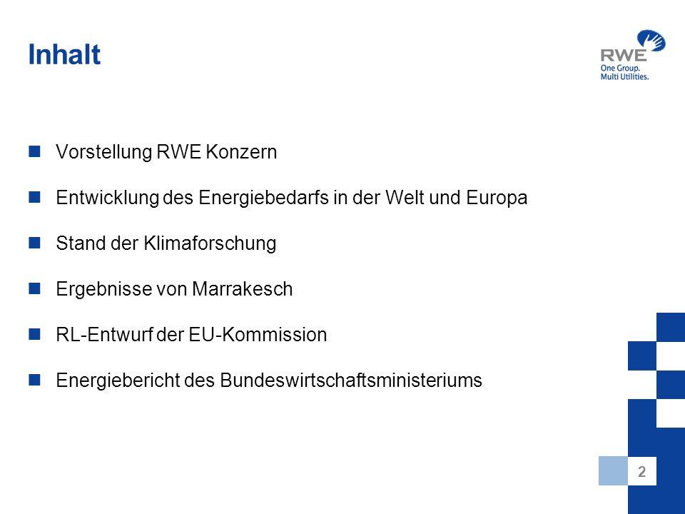 2 Inhalt Vorstellung RWE Konzern Entwicklung des Energiebedarfs in der Welt und Europa Stand der Klimaforschung Ergebnisse von Marrakesch RL-Entwurf d