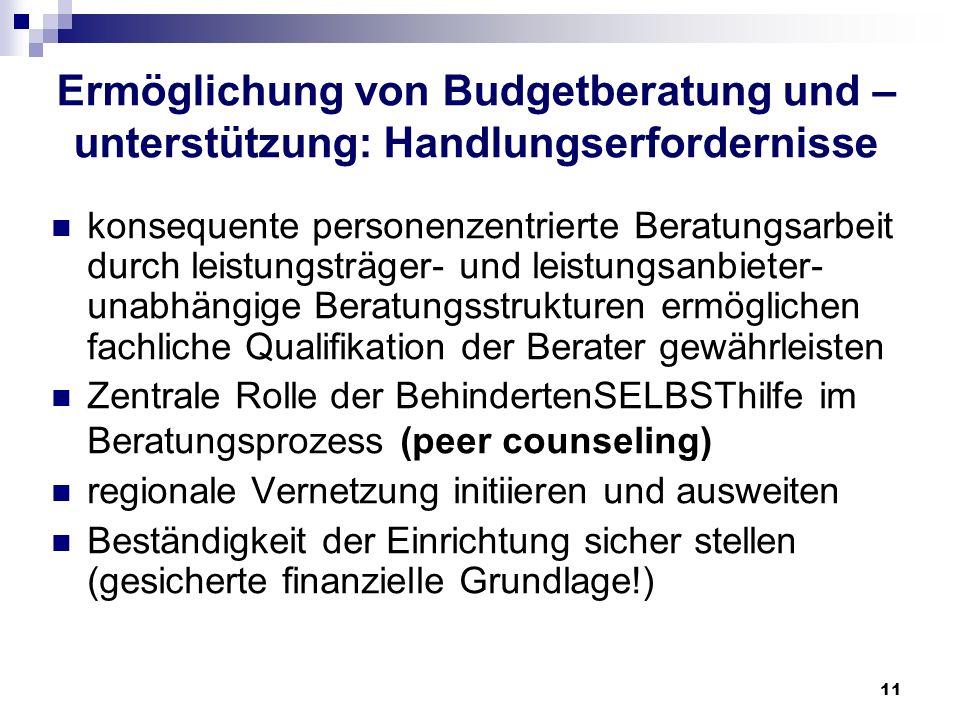11 Ermöglichung von Budgetberatung und – unterstützung: Handlungserfordernisse konsequente personenzentrierte Beratungsarbeit durch leistungsträger- u