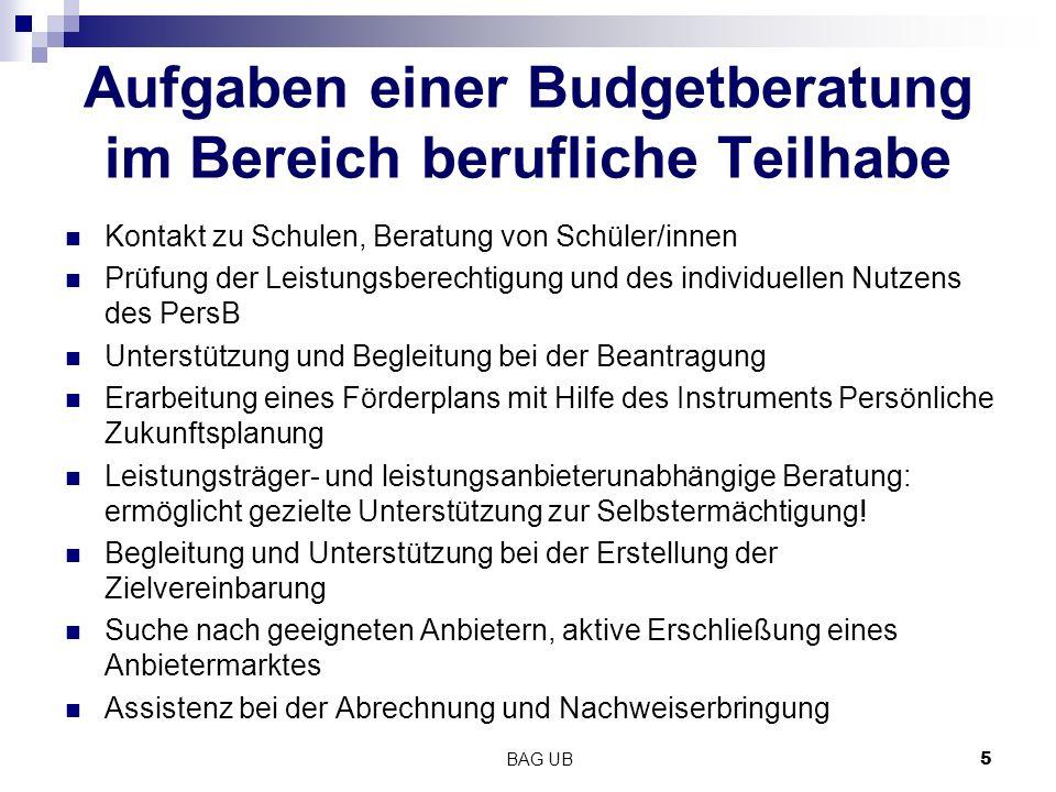BAG UB5 Aufgaben einer Budgetberatung im Bereich berufliche Teilhabe Kontakt zu Schulen, Beratung von Schüler/innen Prüfung der Leistungsberechtigung
