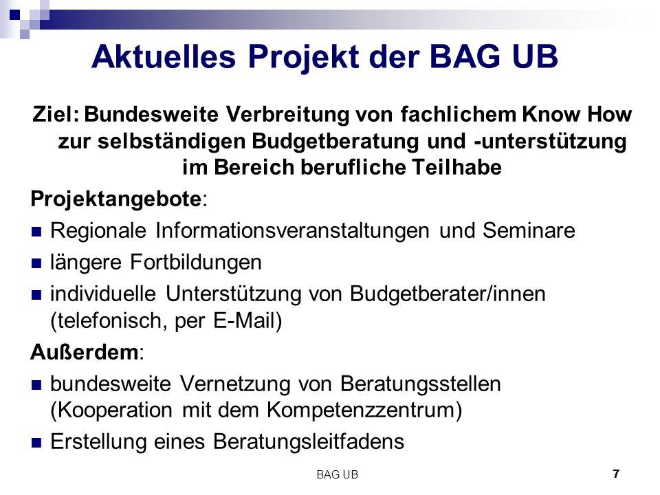 BAG UB7 Aktuelles Projekt der BAG UB Ziel: Bundesweite Verbreitung von fachlichem Know How zur selbständigen Budgetberatung und -unterstützung im Bere