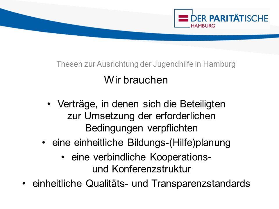 Thesen zur Ausrichtung der Jugendhilfe in Hamburg Wir brauchen Verträge, in denen sich die Beteiligten zur Umsetzung der erforderlichen Bedingungen ve