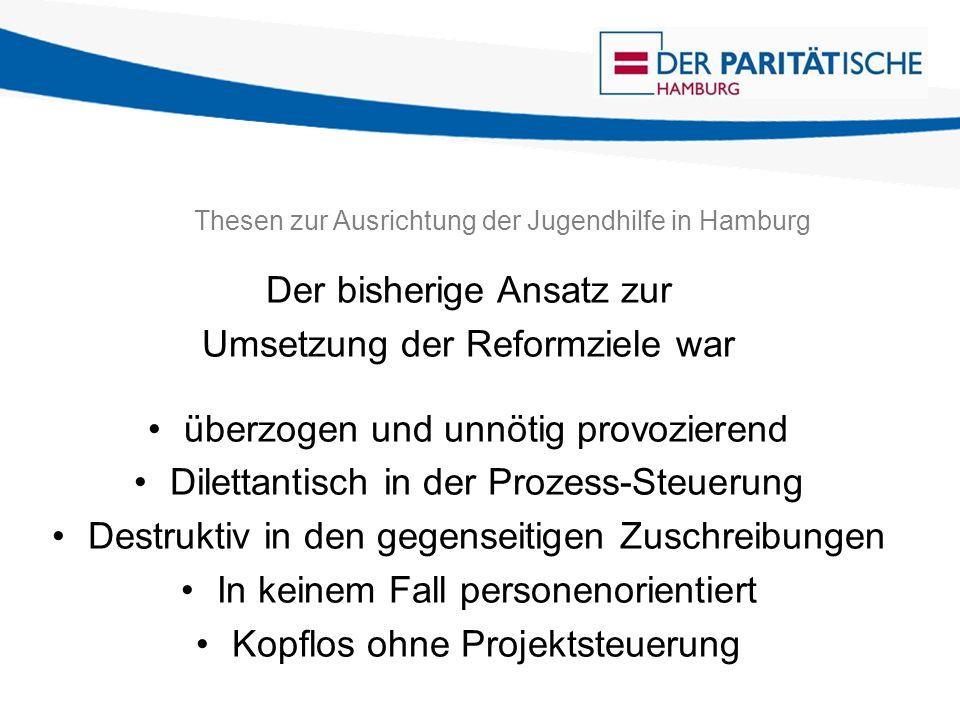 Thesen zur Ausrichtung der Jugendhilfe in Hamburg Der bisherige Ansatz zur Umsetzung der Reformziele war überzogen und unnötig provozierend Dilettantisch in der Prozess-Steuerung Destruktiv in den gegenseitigen Zuschreibungen In keinem Fall personenorientiert Kopflos ohne Projektsteuerung