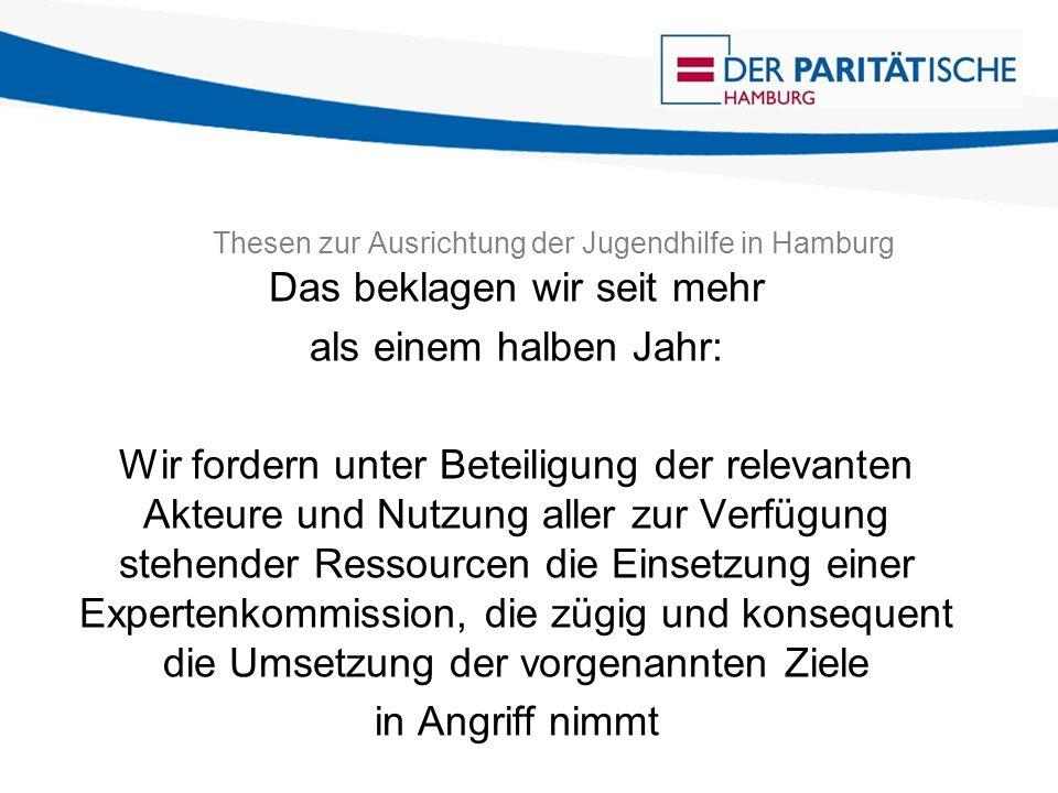 Thesen zur Ausrichtung der Jugendhilfe in Hamburg Das beklagen wir seit mehr als einem halben Jahr: Wir fordern unter Beteiligung der relevanten Akteure und Nutzung aller zur Verfügung stehender Ressourcen die Einsetzung einer Expertenkommission, die zügig und konsequent die Umsetzung der vorgenannten Ziele in Angriff nimmt