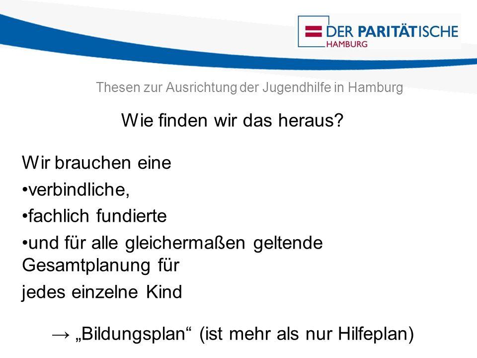 Thesen zur Ausrichtung der Jugendhilfe in Hamburg Wie finden wir das heraus? Wir brauchen eine verbindliche, fachlich fundierte und für alle gleicherm