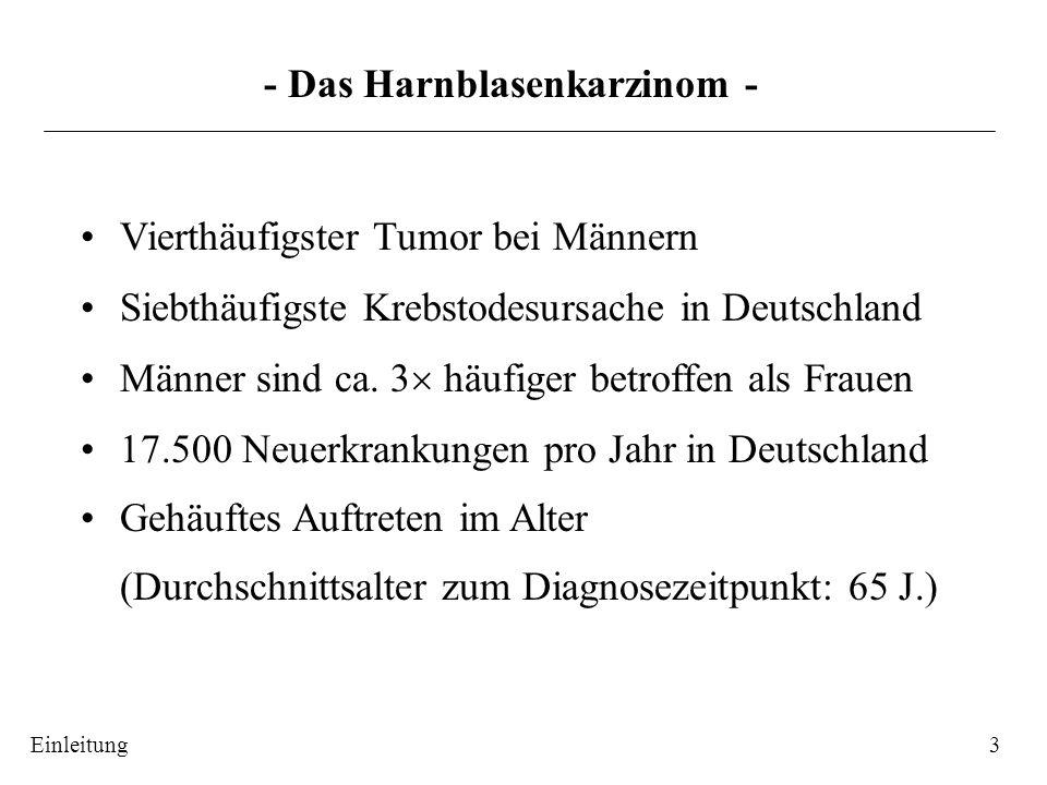- Therapie des Harnblasenkarzinom (BCa) - 4 Oberflächliches BCa Transurethrale Resektion des Rezidivhäufigkeit (50-70%) Blasentumors (TURB) Progressionsrisiko (10-20%) Muskelinvasives BCa Zystektomie (Blasenentfernung) geringe Überlebensrate Zusätzlich: Chemo-, Strahlen-, Immuntherapie, Kombinationsbehandlungen Suche nach alternativen oder/und additiven Therapieformen 1carcinoma in situ 2/3papilläres Karzinom 4Infiltration in die oberflächliche Muskulatur 5Befall der tiefen Muskulatur 6/7/8Ausdehnung durch die Blasenwand http://www.cytochemia.de/HomePage_CC/Pat_Ind/Carcinome/carcinome.html Einleitung