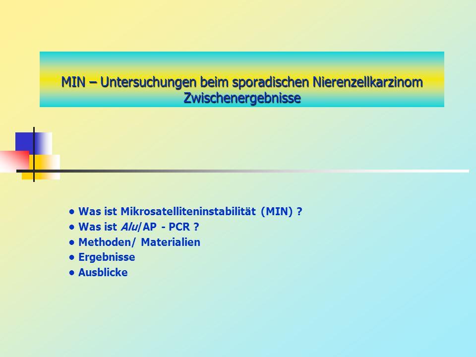 MIN – Untersuchungen beim sporadischen Nierenzellkarzinom Zwischenergebnisse Was ist Mikrosatelliteninstabilität (MIN) ? Was ist Alu/AP - PCR ? Method